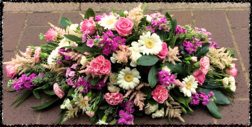 funeral flowers coffin top pink rose aqua